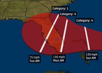 Trayectoria pronosticada de Dorian. Imagen: The Weather Channel en Twitter.