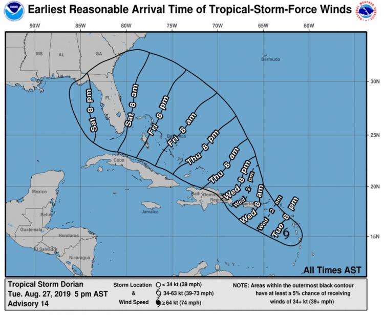 Imagen publicada por el Centro Nacional de Huracanes de Estados Unidos el 27 de agosto de 2019.