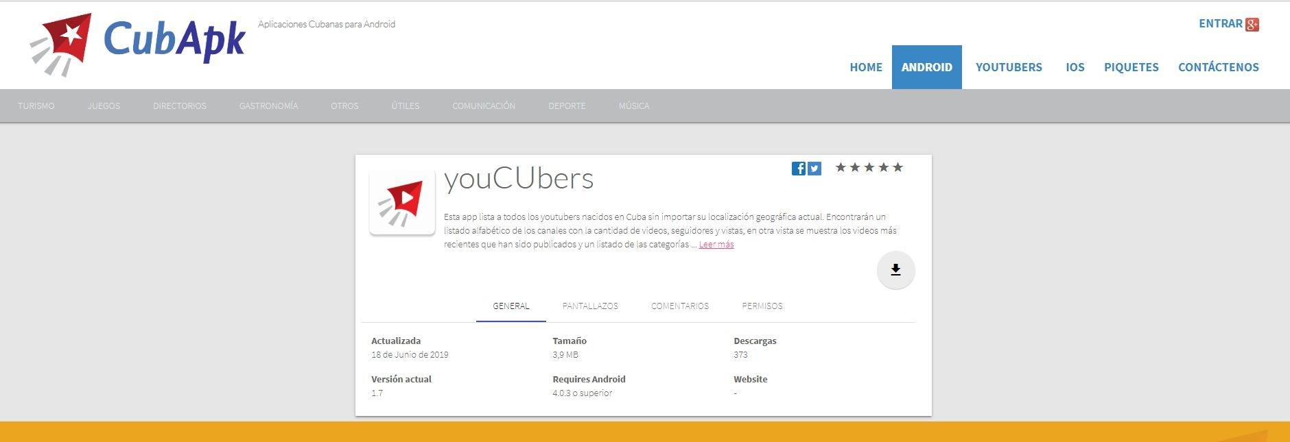 Captura de pantalla de la app youCUbers en el sitio de descargas CubApk.