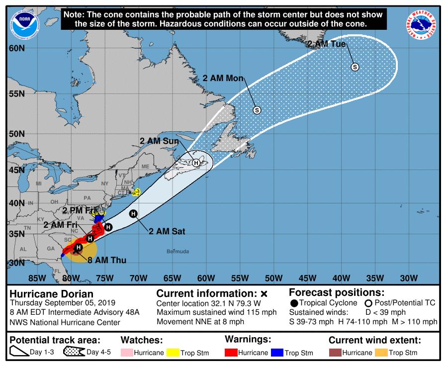 Cono del movimiento pronosticado al huracán Dorian el jueves 5 de septiembre de 2019 a las 8:00 AM. Gráfico: nhc.noaa.gov