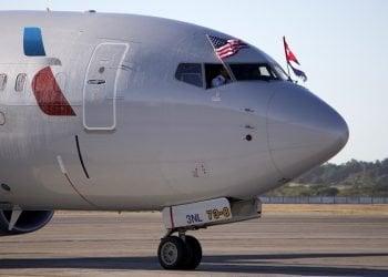 En noviembre de 2016 American Airlines inauguró su vuelo comercial regular en el Aeropuerto Internacional José Martí. Foto: EFE.