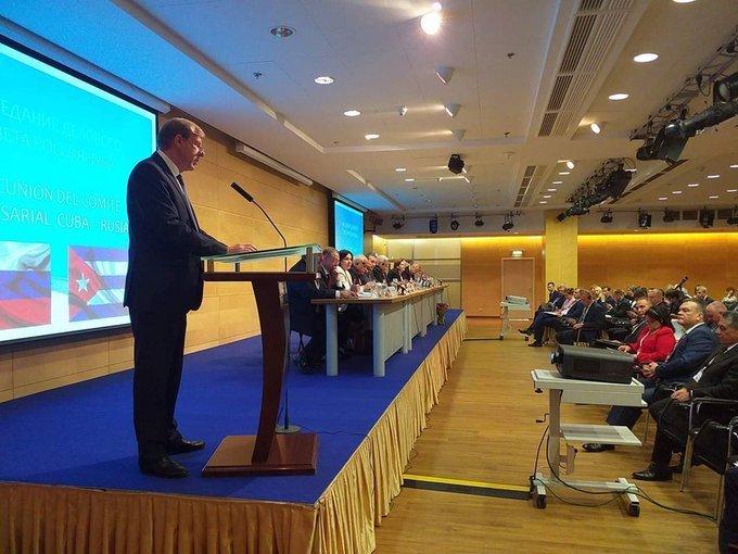 Décima sesión del Comité Empresarial Cuba-Rusia, celebrada en Moscú. Foto: @MINCEX_CUBA / Twitter.