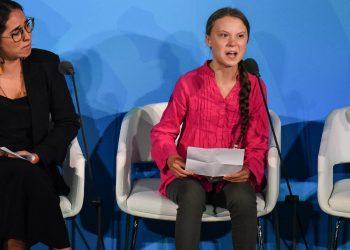 La joven activista sueca Greta Thunberg pronuncia un electrizante discurso en la Cumbre de Acción Climática de la ONU, en Nueva York, el 23 de septiembre de 2019. Foto: AFP / animalpolitico.com