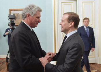 En noviembre de 2018, el presidente de Cuba, Miguel Díaz-Canel, realizó una visita oficial a Rusia y tuvo un encuentro con el primer ministro ruso Dmitry Medvedev. Foto: CubaSí.