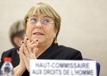La Alta Comisionada de Naciones Unidas para los Derechos Humanos, Michelle Bachelet, asiste a la apertura de la 42da sesión del Consejo de Derechos Humanos en la sede europea de Naciones Unidas, en Ginebra, Suiza, el lunes 9 de septiembre de 2019. Foto: Salvatore Di Nolfi/Keystone vía AP.