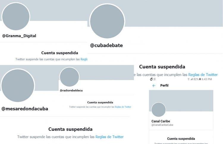 Collage: de cuentas de medios cubanos bloqueados en Twitter. Imagen: Marita Pérez Diaz.