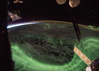 Aurora boreal desde Estación Orbital. Foto: NASA