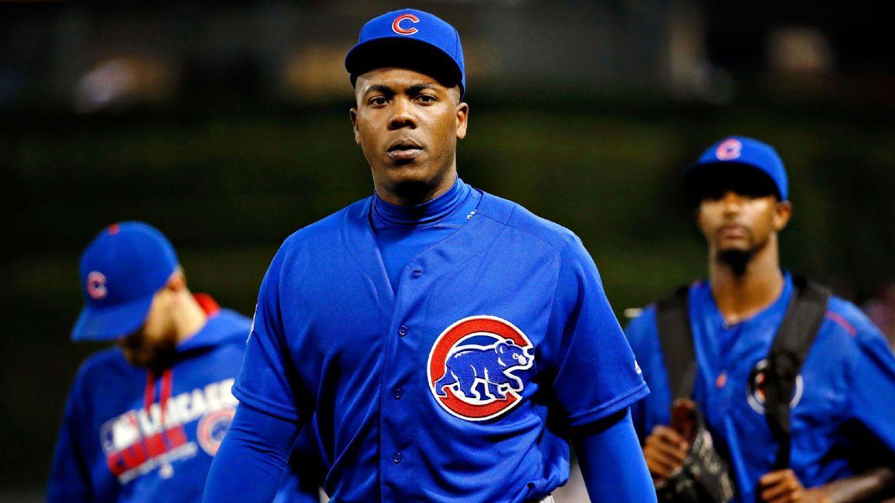 Aroldis Chapman con el uniforme de los Cachorros de Chicago. Foto: Jon Durr/Getty Images/ESPN.