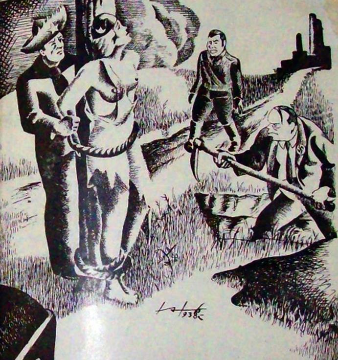 Ilustración de Esfuerzo. Órgano Oficial del Sindicato Nacional de Obreros de la Industria del Calzado, 1938.