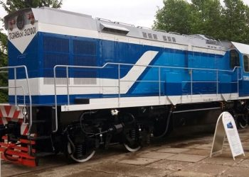 Locomotora rusa del modelo TGM8, como las llegadas el 2 de octubre de 2019 a La Habana como parte de un convenio entre Cuba y Rusia para la modernización del ferrocarril cubano. Foto: sputniknews.com