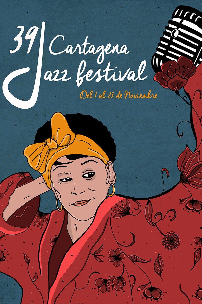 Cartel promocional de la presentación de Omara Portuondo en el 39 Cartagena Jazz Festival. Foto: cartagena.es