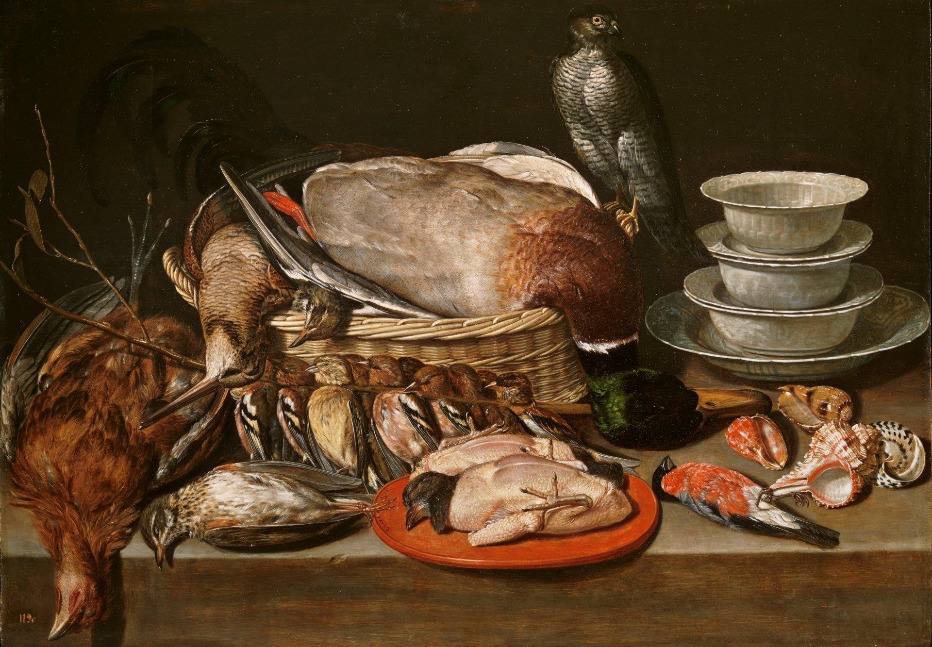 """""""Bodegón con gavilán, aves, porcelana y conchas"""", de Clara Peeters. Foto: museodelprado.es"""