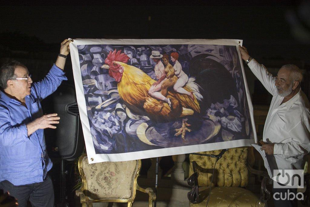 El artista de la plástica Roberto Fabelo junto al escritor Leonardo Padura