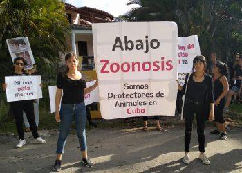 Protectores cubanos protestan contra el maltrato animal frente a un centro del programa estatal de Zoonosis, el lunes 11 de noviembre de 2019. Foto: Perfil de Facebook de Beatriz Batista.