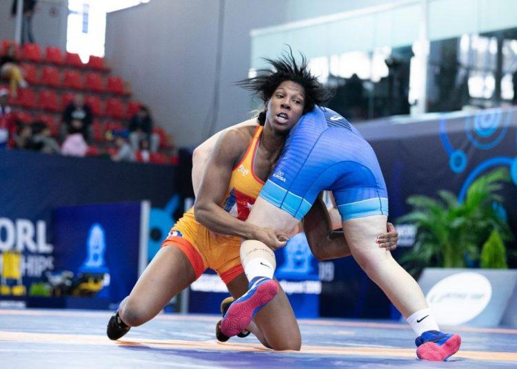 La luchadora cubana Milaymis de la Caridad Marín durante el Mundial Sub-23 de Budapest, en 2019. Foto: Kadir Caliskan/UWW.