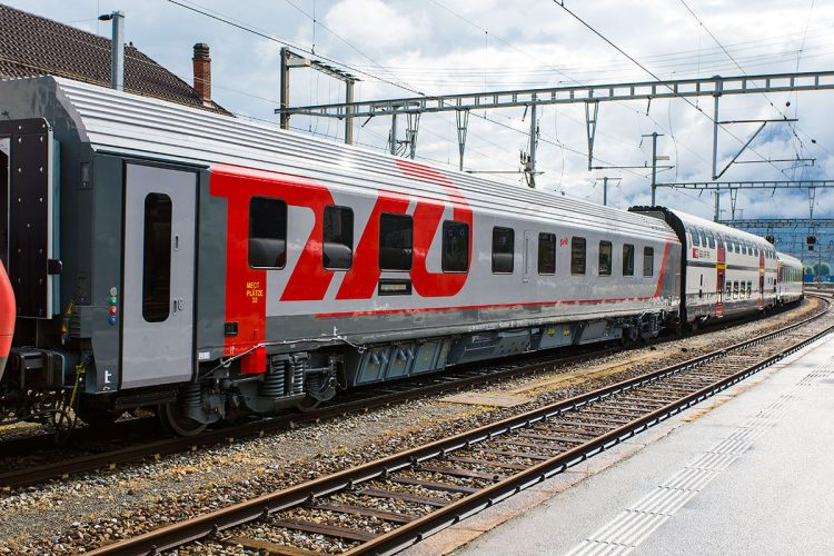 Tren de la la empresa Ferrocarriles Rusos (RZD). Foto: Pinterest.