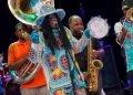 Big Chief Monk Boudreaux junto a The Soul Rebels en la apertura del Festival Jazz Plaza, en el Teatro Nacional de La Habana, el 14 de enero de 2020. Foto: Enrique Smith.