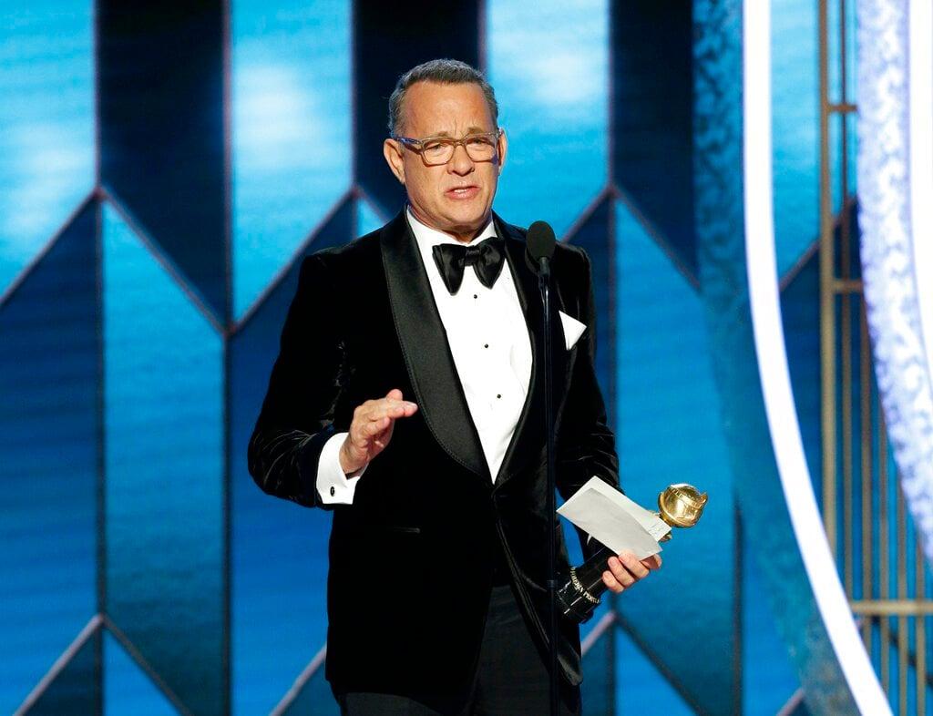 Tom Hanks recibe el Premio Cecil B. DeMille a la Trayectoria durante la ceremonia de los Globos de Oro, el domingo 5 de enero del 2020 en Beverly Hills, California. Foto: Paul Drinkwater/NBC vía AP.