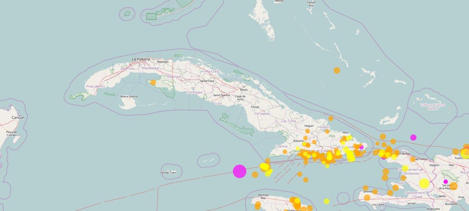 Localización del epicentro (en rosado, a la izquierda) del terremoto de 7.7 grados de magnitud perceptible en Cuba y otros países del Caribe, la tarde del 28 de enero de 2020. Infografía: Cenais.
