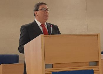 El canciller cubano, Bruno Rodríguez, durante su discurso en el Consejo de Derechos Humanos, en Ginebra, Suiza, el 25 de febrero de 2020. Foto: @BrunoRgezP/Twitter.
