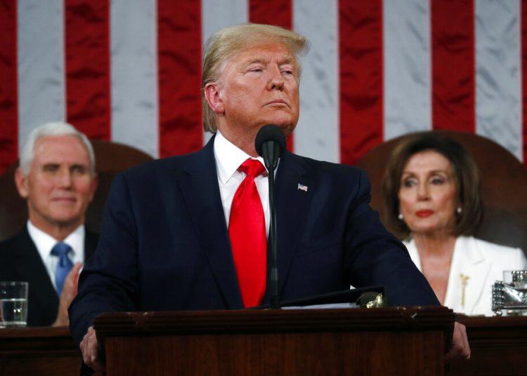 El presidente Donald Trump pronuncia su discurso sobre el Estado de la Unión en el Congreso el martes 4 de febrero de 2020. Foto: Leah Millis/Pool via AP.