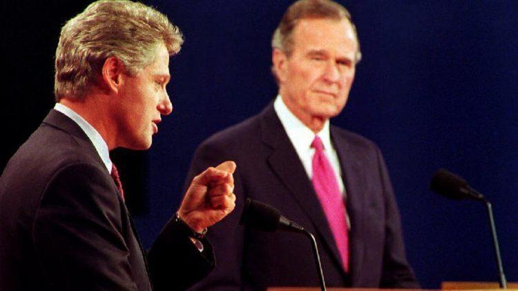 Debate entre William Clinton y Goerge Bush. Foto: PBS.