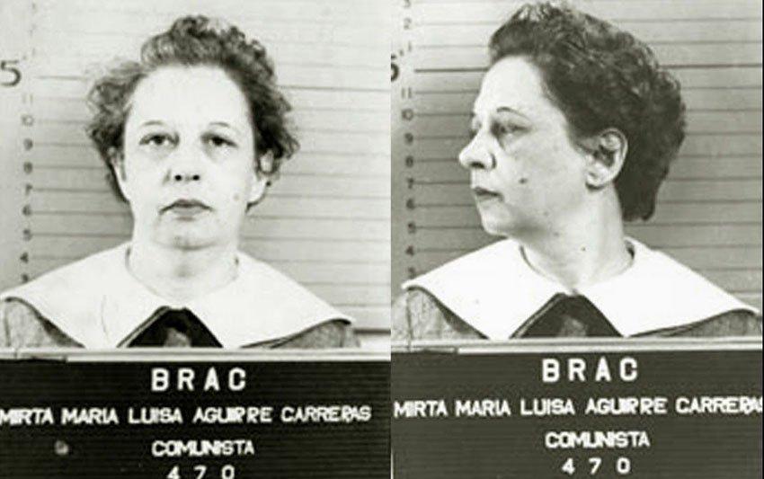 Fotos del fichaje de  Mirta Aguirre por el Búro para la represión de las actividades comunistas (BRAC) en la década de 1950. Foto: rialta-ed.com