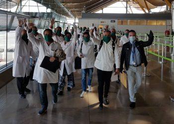 Miembros de la brigada médica cubana en Andorra. Foto: @Gustavo Machín/Facebook.