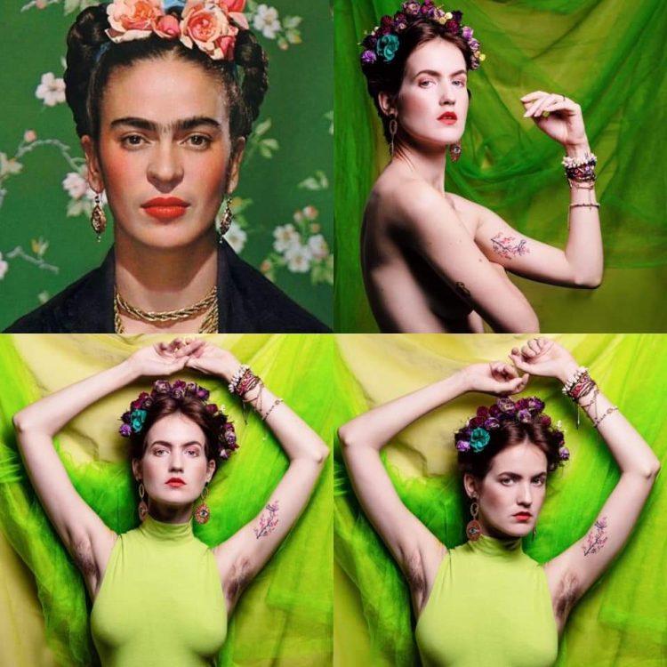 May Reguera posa como Frida Kahlo en un challenge en Facebook. Foto: perfil de facebook de la artista.