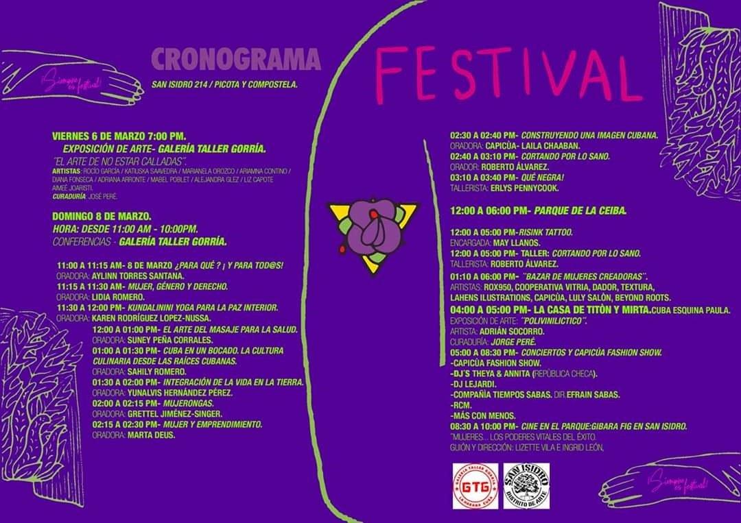 Programa del 3er Festival de la Mujer 7 palabras