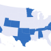 Sombreados en azul, los 14 estados donde se vota en este Súper Tuesday. Infografía: politico.com