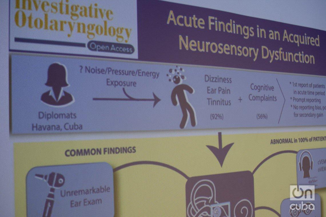 """Diapositiva sobre los incidentes de salud reportados por diplomáticos norteamericanos en Cuba, presentada durante los debates del evento """"Is There a Havana´s Syndrome?"""", realizado en el Centro de Neurociencias de Cuba los días 2 y 3 de marzo de 2020. Foto: Otmaro Rodríguez."""