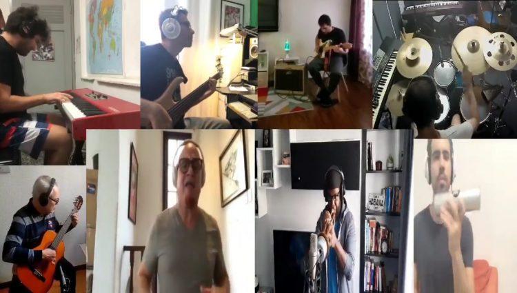 Músicos cubanos se unen para interpretar la conocida Balada de Elpidio Valdés, de la autoría de Silvio Rodríguez. Foto: Captura de pantalla.