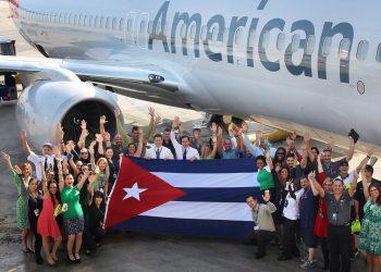 Llegada del primer vuelo de American Airlines a La Habana el 17 de septiembre de 2016./American Airlines/Archivo