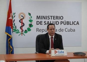 El ministro de Salud Pública de Cuba, Dr. José Ángel Portal, durante su intervención virtual en la 73a Asamblea Mundial de la Salud, el 18 de mayo de 2020. Foto: @MINSAPCuba / Twitter.