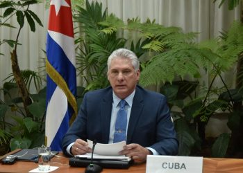 """El presidente cubano Miguel Díaz-Canel durante su intervención en la Cumbre Virtual """"Unidos contra la Covid-19"""" del Movimiento de Países No Alineados. Foto: Estudios Revolución / Granma."""