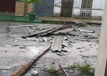Daños causados por una tormenta local severa en la localidad cubana de Caibarién, el 19 de mayo de 2020. Foto: Félix Alexis Correa / Facebook.