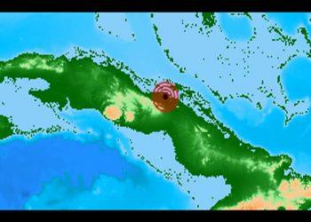 Localización de un sismo perceptible al noreste de la localidad de Chambas, en el centro de Cuba, el 21 de junio de 2020. Gráfico: Prensa Latina.