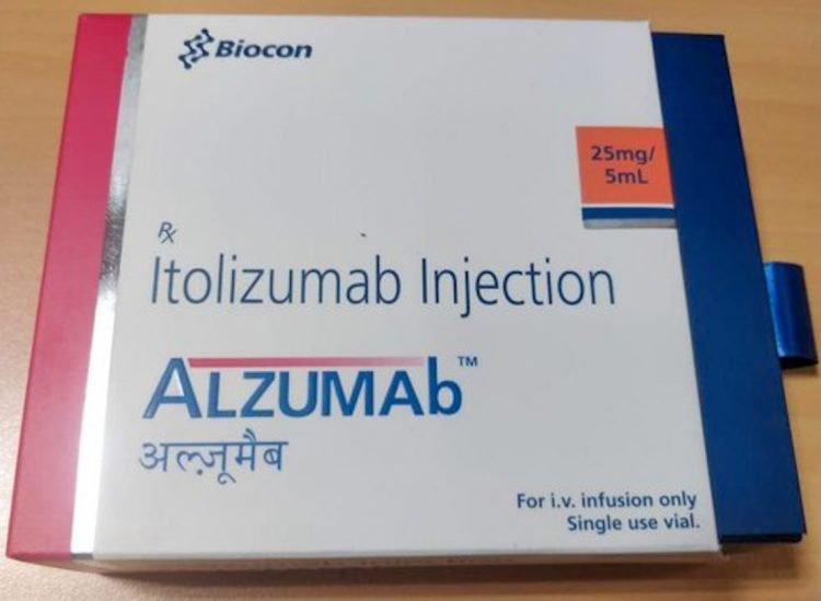 Medicamento Alzumab producido en la India por Biocon con la variante cubana del anticuerpo monoclonal humanizado Itolizumab. Foto: indiamart.com