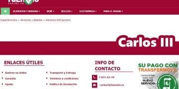 Captura de pantalla del sitio de la tienda virtual cubana Carlos III, en la plataforma de comercio electrónico TuEnvío, de la corporación estatal cubana Cimex.