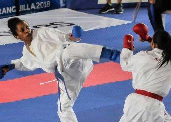 Cirelys Martínez, durante un combate en Barranquilla, 2018. Foto: cadenagramonte.cu/