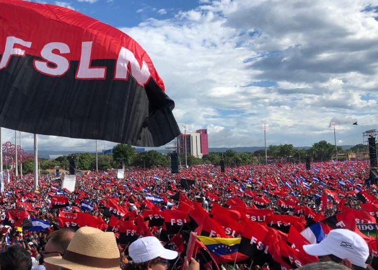 Acto por el 40 aniversario de la victoria sandinista, Managua, Plaza de la Fe. Foto: Barricada.