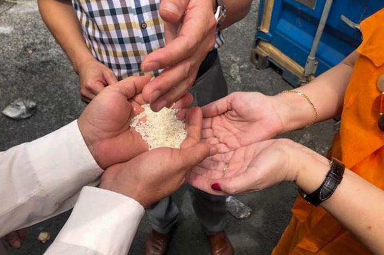 Vietnam entrega a embajadora cubana las 5.000 toneladas de arroz donados a Cuba. Foto: cubadebate.cu