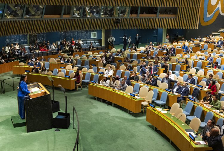 La vicepresidenta venezolana Delcy Rodríguez habla ante la 74ta sesión de la Asamblea General de las Naciones Unidas en la sede del organismo en Nueva York. Foto: Craig Ruttle/AP/archivo.