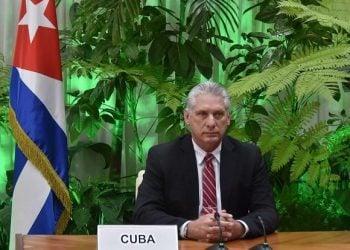 El presidente cubano Miguel Díaz-Canel durante su intervención en una cumbre virtual de la Organización Internacional del Trabajo (OIT), el 8 de julio de 2020. Foto: Cubadebate.