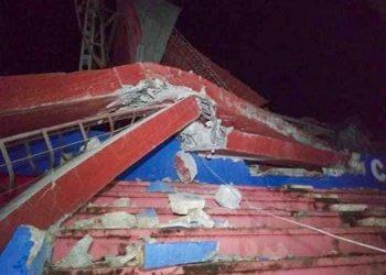 La tormenta tropical Laura derribó una torre del estadio 26 de julio, en Artemisa. Foto: artemisadiario.cu
