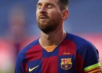 El delantero argentino del Barcelona Lionel Messi reacciona durante el partido de cuartos de final de la Liga de Campeones contra el Bayern Múnich, el 14 de agosto, en Lisboa. Foto: AP/Manu Fernández.