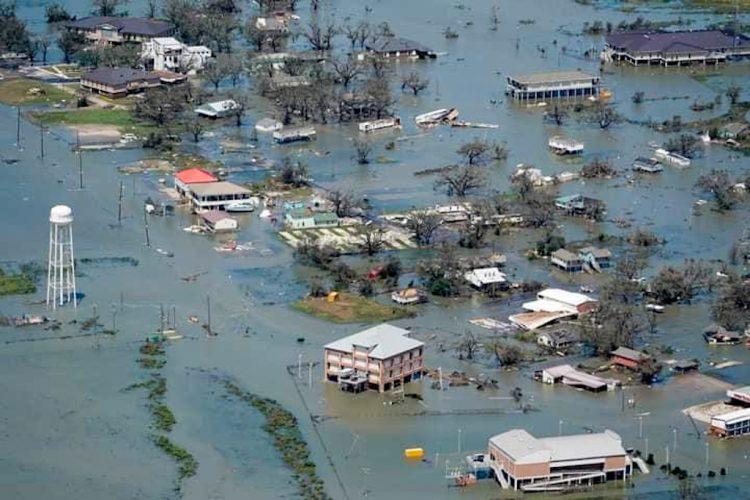 Vista aérea de Cameron, Luisiana, tras el paso del huracán Laura. Foto: Red Climática Mundial/Facebook.