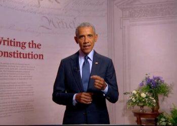 El expresidente Barack Obama durante su discurso en la tercera noche de la Convención Nacional Demócrata. Foto; AP.
