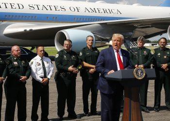 El presidente Trump pronuncia un discurso a la llegada a Tampa el 31 de julio. | Tampa Times